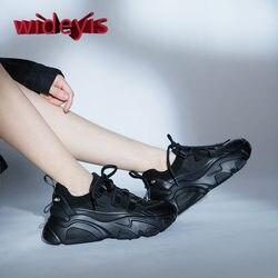 Schuhe frauen chunky turnschuhe frauen Echtes Leder schuhe Neue frühjahr und herbst casual walking schuhe lace-up flache damen schuhe