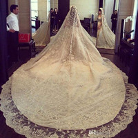 Luxury Ivory 3M Long Rhinestones Cathedral Wedding Veils With Lace Applique Trim Crystals One Layer Tulle Sequined Bridal Veil