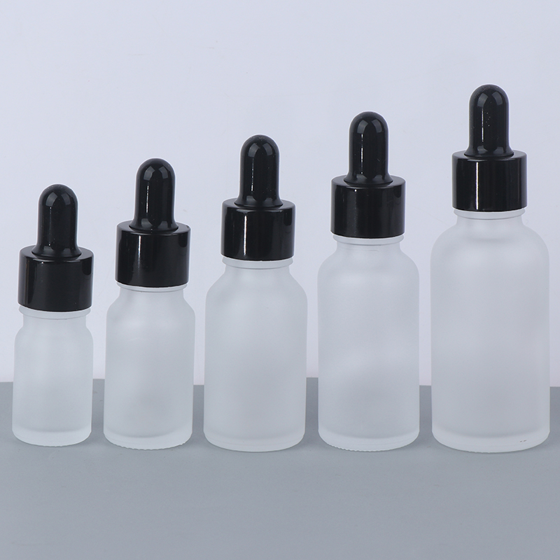Glass Refillable Bottles Empty Lip Gloss Tubes Frosted Dropper Amber Glass Aromatherapy Liquid For Essential Massage Oil Pipette image