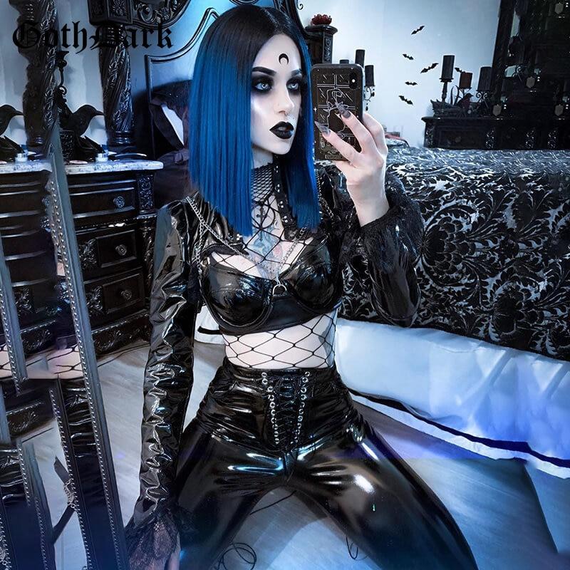 Goth Dark Vintage Gothic Pants Women PU Harajuku Winter 2020 Skinny Bandage Pocket Female Trousers Punk Chic Aesthetic