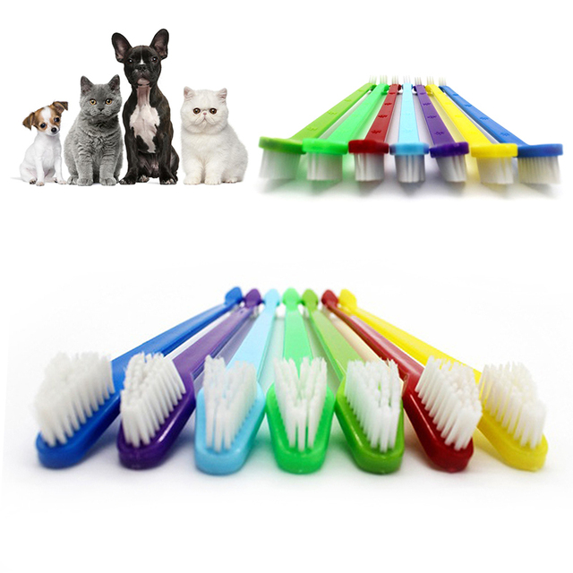 1pc Two Sided Dog Toothbrush Bad Breath Tartar Teeth Care For Cat Dog Tooth Clean Brush Soft Pet Finger Toothbrush pet Suppplies 2