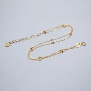 Prawdziwe 18K żółte złoto bransoletka kobiety szczęście podwójne O łańcuch z Mini koraliki bransoletka 7.5 cali 0.8-1g
