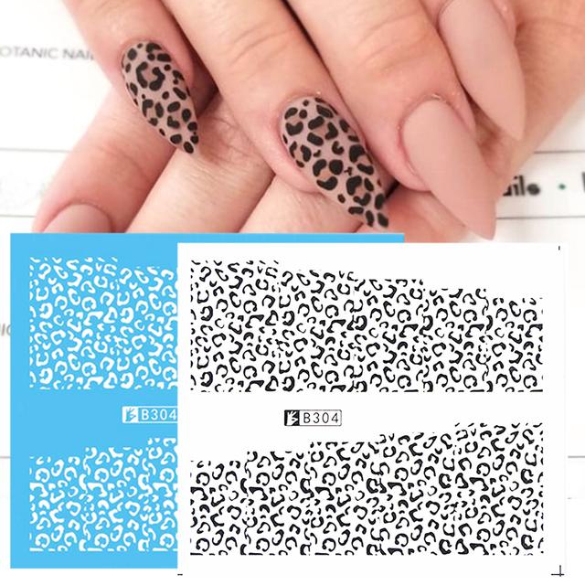 1pcs 3D Nail Sticker Water Leopard Black White Sexy Slider Winter Design for Nail Art Decoration Manicure Accessories CHB304