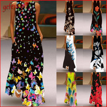 Women Fashion Summer Maxi Dresses Elegant Printed Beach Casual Sleeveless Long Dress 2021 Plus Size Sundress Vestidos De Fiesta