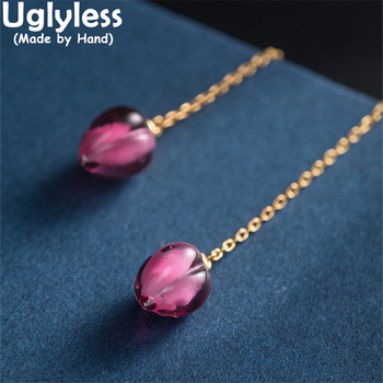Uglyless Pretty Pink Glass Flower Buds Earrings for Women 11.5CM Long Ear Lines 925 Silver Romantic Floral Brincos Gold Jewelry 1