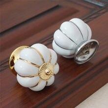 Ouro prata abóbora puxadores de cerâmica puxadores de gaveta puxadores puxadores cômoda armário de cozinha puxadores de porta armário