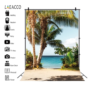 Laeacco Tropical Photophone Sea Beach Palms Trees Photography Backdrops Summer Portrait Photo Backgrounds Aloha Party Photocall