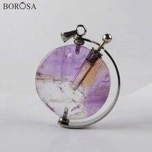 Purple Crystal Quartz Perfume Bottle Pendants for Women Round Natural Gems Stones Essential Oils Diffuser Necklace Charms WX1304 недорого