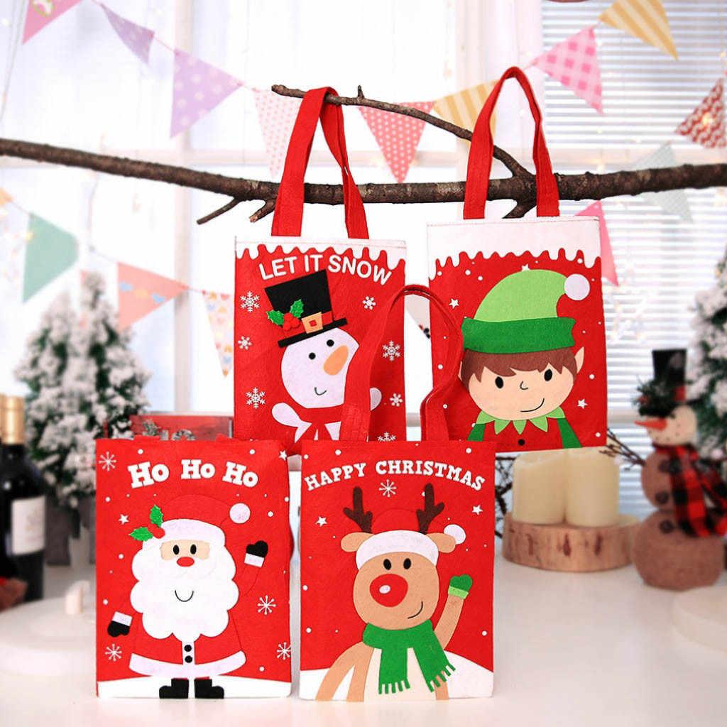 חג המולד אדום הרגיש בד קריקטורה זקן ממתקי שלג Tote ילד מתנת תיק קישוט הבית שלנו לא רוכסן כותנה בד מתנת תיק