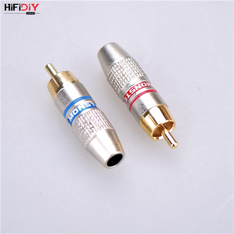 HIFIDIY LIVE 2PCS/Set Audio Signal Input RCA Plug Cable Wire Gold Plated Amplifier Front Stage DIY Speaker Stereo Headset Repair