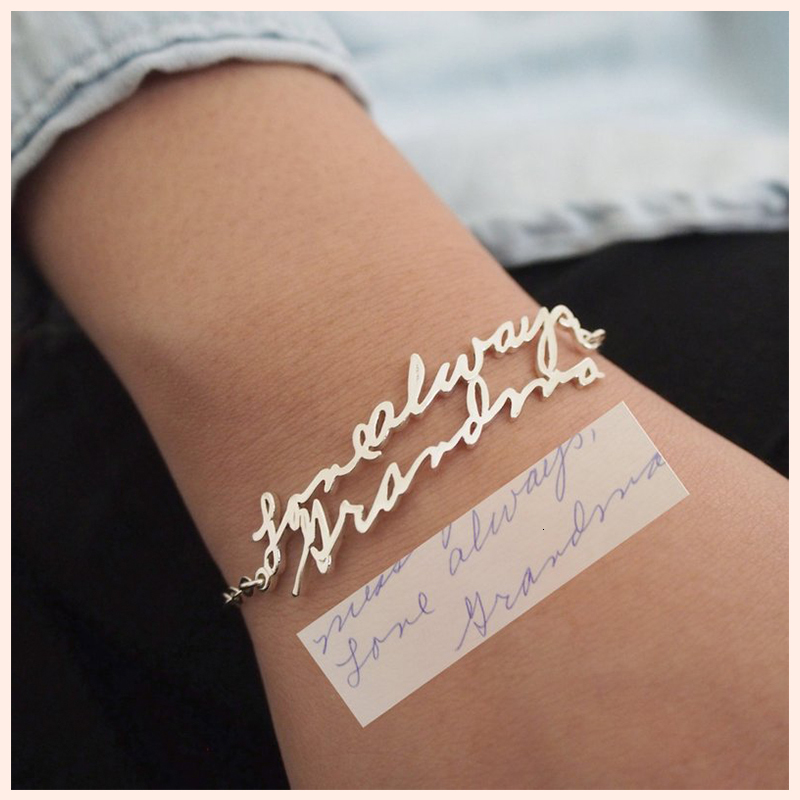 StrollGirl 925 Sterling Silver Personalized Customization Handwriting Bracelet Custom Actual Handwriting Jewelry Keepsake Gift