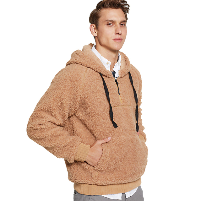 Fleece Winter Jacket Men 2019 Thick Hooded Pullover Fashion Long Sleeve Plus Velvet Sweatshirts Man Casual Warm Fluffy Wool Coat
