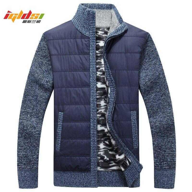 Men's Winter Autumn Thick Sweatercoat Men Solid Stand Collar Warm Cardigan masculino Sweater Wool Jacket Coats Plus Size 3XL