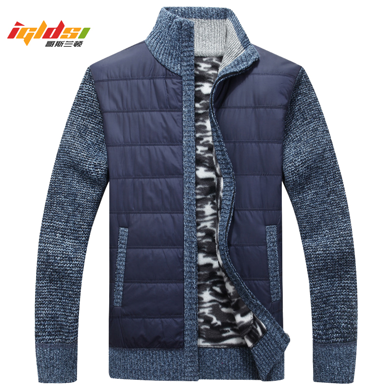 Men's Winter Autumn Thick Sweatercoat Men Solid Stand Collar Warm Cardigan Masculino Sweater Wool Jacket Coats Plus Size 3XL