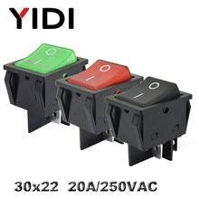 KCD4-201 30x22 30a 250vac resistente kcd4 rocker switch 20a 250vac dpst em fora travamento 12v 220v vermelho verde azul led iluminado