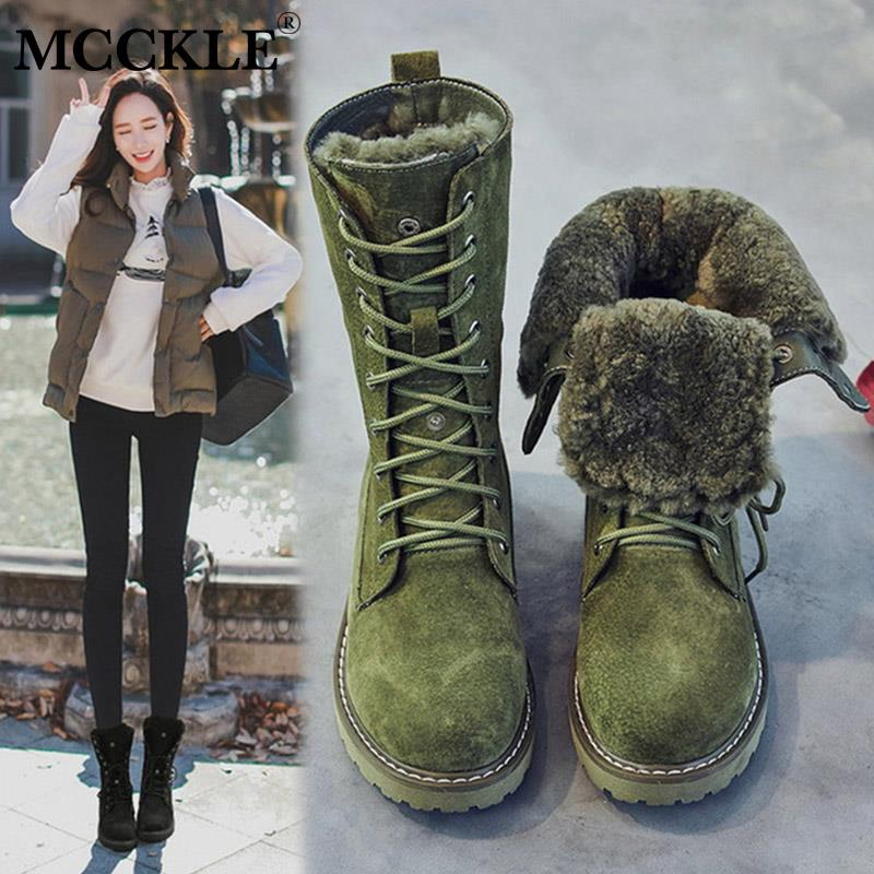 MCCKLE Women Shoes Genuine Leather Snow Boots Woman Winter Boots 2020 Winter Women's Shoes Pig Split Ladies Platform Booties