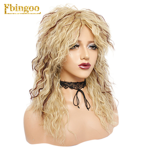 Image 4 - Ebingoo Peluca de pelo sintético para mujer, postizo de estilo Disco Hallween Rocker de 70s y 80s, Largo rizado, rizado dorado, Rubio, marrón, para fiesta de juegos de rol
