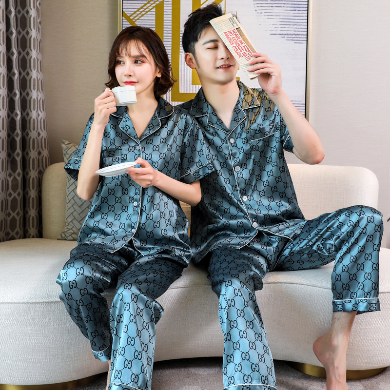 Couple Sleepwear Mens Silk Satin Pajamas Sets Short Sleeve Home Suit Print Lounge Summer Pyjamas Elastic Waist Pants Women 3XL