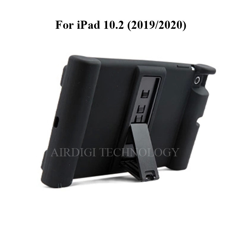 black Black Soft Shockproof Silicone Cover Kickstand Case for iPad 10 2 A2198 A2200 A2197 A2270 A2428 A2429