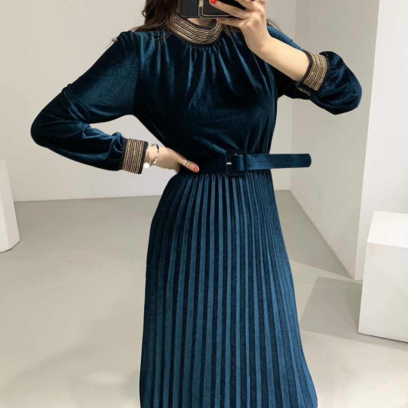 Velvet Dress Pleated A Line Long Sleeve Midi Black Elegant Party Spring Office Korean Vestido De Festa Blue Robe Soiree Women