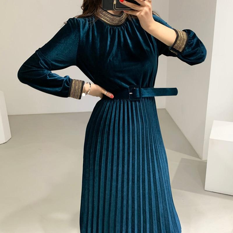 Velvet Dress Pleated A Line Long Sleeve Midi Black Elegant Party Spring Office Korean Vestido De Festa Blue Robe Soiree Women