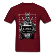 Batpool Batman Deadpool Mugshot T Shirt Mens Summer Fashion Cool Tee-Shirts Cotton Marvel Avengers Dead Pool Knight Tshirts(China)