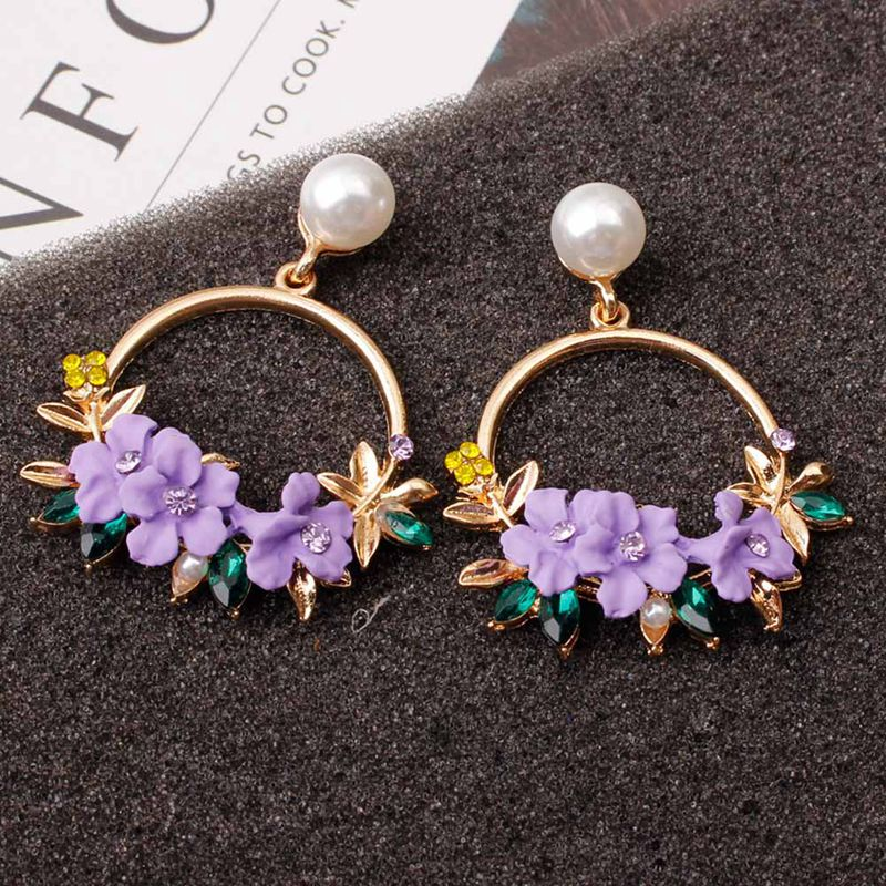 <font><b>Trendy</b></font> <font><b>Cute</b></font> <font><b>Pink</b></font> <font><b>Flower</b></font> <font><b>Earrings</b></font> <font><b>For</b></font> <font><b>Women</b></font> Girls Jewelry Female Rhinestone <font><b>Cute</b></font> Metal Round Circle <font><b>Earrings</b></font> Gift Brincos image