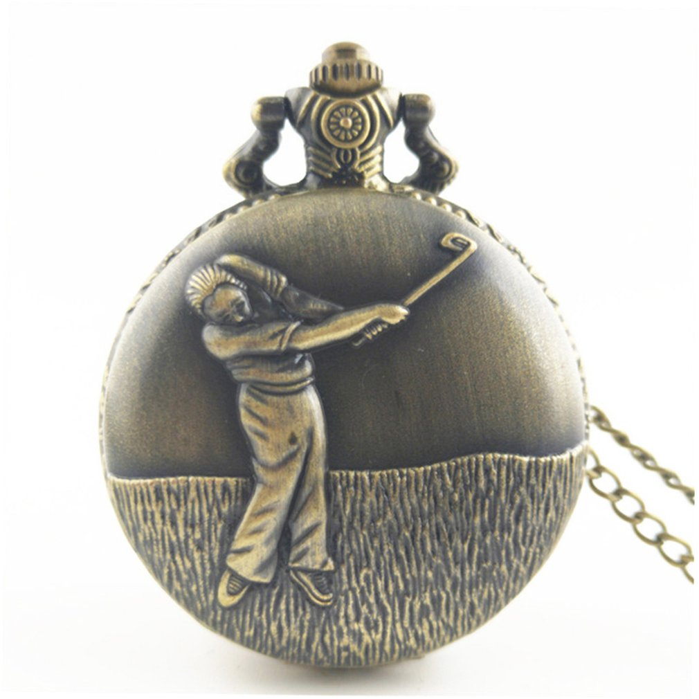 Playing Golf Vintage Antique Round Dial Quartz Pocket Watch Necklace Pendant Clock For Mens Womens Best Gifts