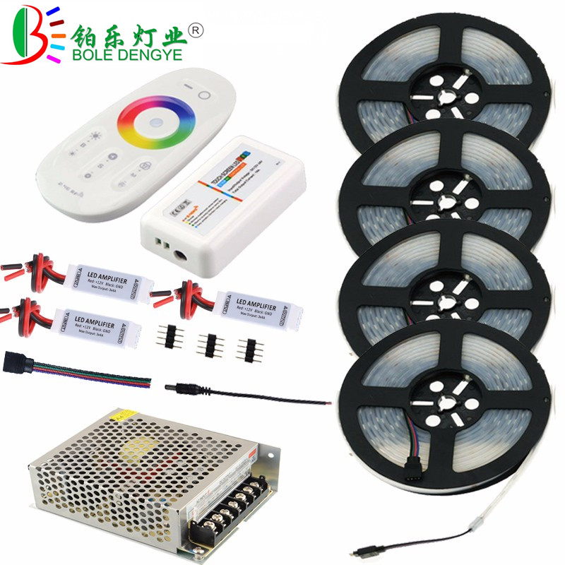 5M 10M 15M 20M IP67 Waterproof RGB LED Strip Light For Outdoor Decoration SMD 5050 12V Flexible Diode Tape+Controller+LED Power image