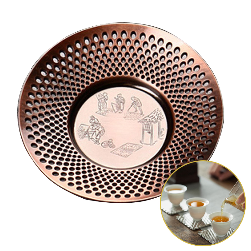 New Alloy Hammer Coaster Insulation Antique Copper Tea Cup Holder Japanese Kung  Set Tea Ceremony Accessories