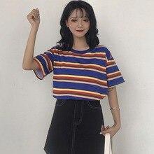 Casual O Neck Striped Short Sleeve Loose Shirt  Summer Women Tops NS