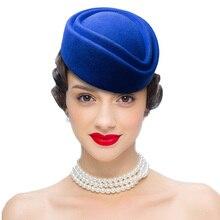 멋진 우아한 순수 양모 모자 공기 스튜어디스 모자 7cm 높이 솔리드 필 박스 모자 칵테일 Fascinatot 베레모 모자 기본 밀리터리