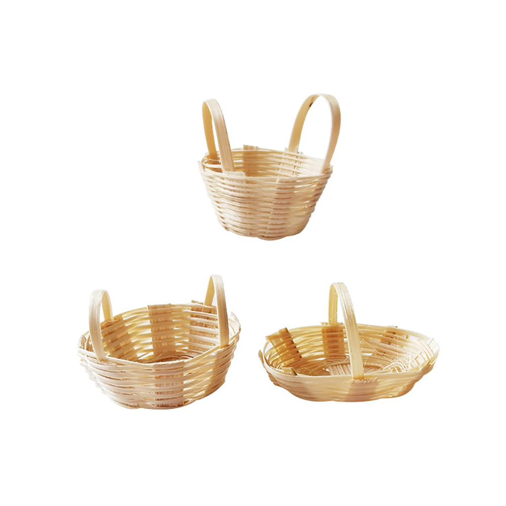 1Pcs 1/12 Dollhouse Miniature Accessories Mini Bamboo Basket Simulation Handbasket Model Toys For Doll House Decoration