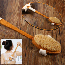 Natural Bristle Shower Brush For Back Dry Massage Brush Body  Bamboo Bath Body Brush Long Handle  Exfoliate Loofah Back Scrubber vehhe body brush spa banya massage scrubber bathroom accessory long handle shower brush bath skin massage brushes exfoliate