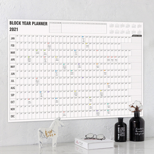 2021 Wall Calendar Year Planner Daily Plan Paper with 2 Sheet Mark Stickers for Office School Home office supply