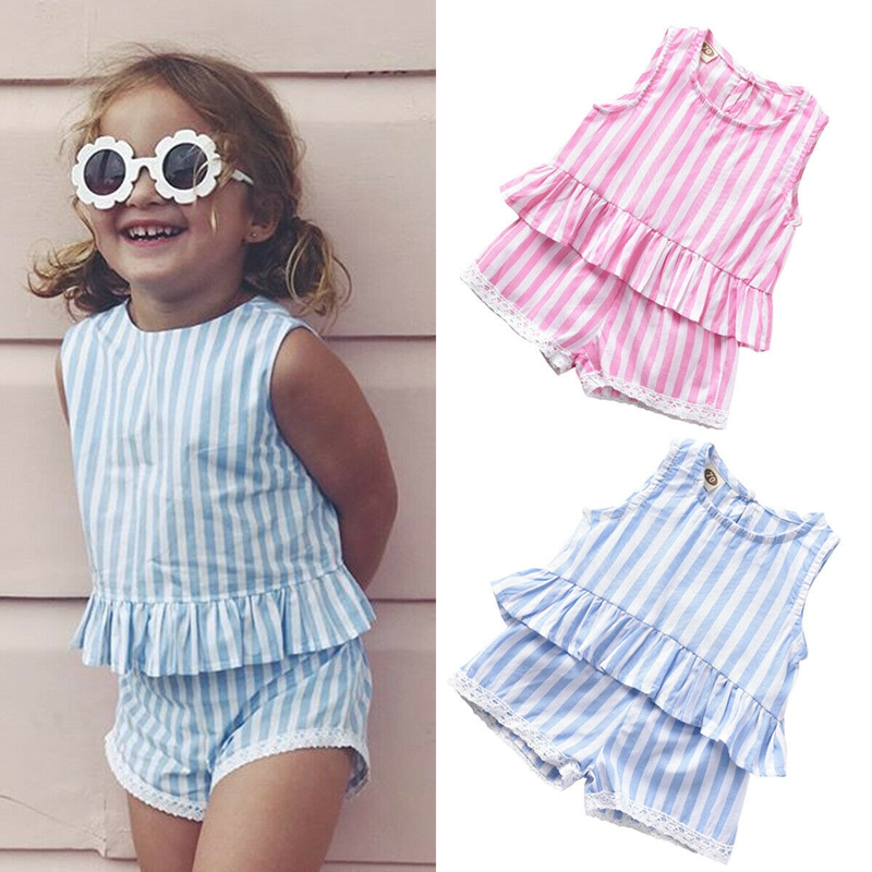 Toddler Newborn Baby Girl Summer Stripe Tops Shorts Outfits Set Clothes 0-24M