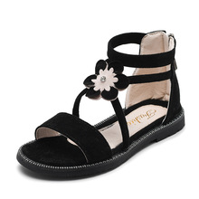 Children Shoes Rome Flower Flat Buckle Beach Gladiator Girls Sandals Kids Summer for Casual