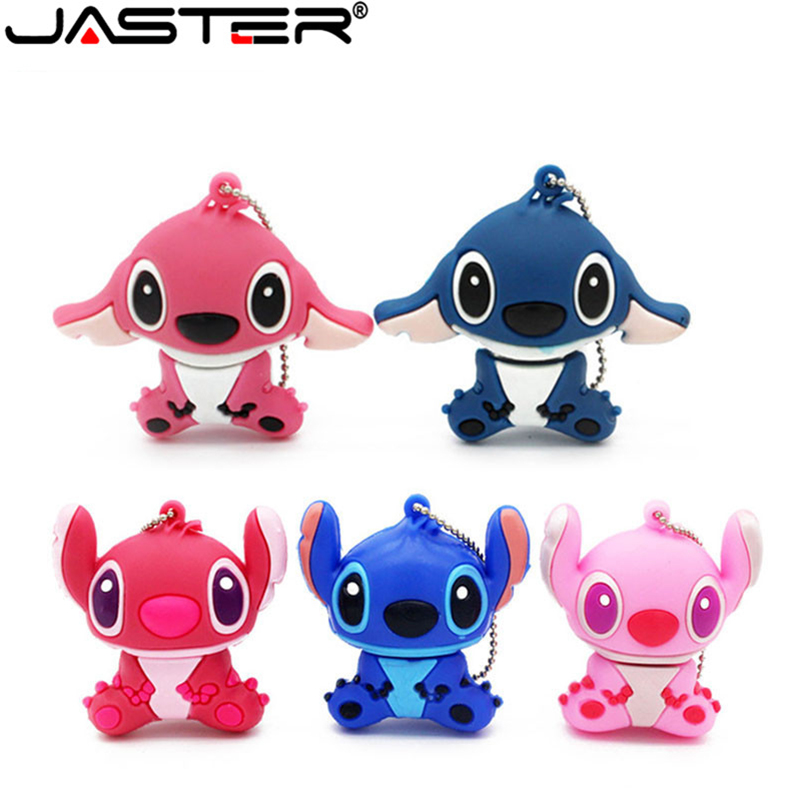 JASTER Lovely Cartoon Lilo & Stitch USB Flash Drives 64GB 32GB 16G 8G 4GB Pen Drive Memory Stick Pendrive Thumb Drives Gift