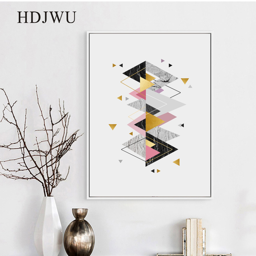 Abstract Nordic Art Home Wall Picture Canvas Painting Creative Geometry Printing Posters Wall Pictures for Living Room DJ576 in Painting Calligraphy from Home Garden