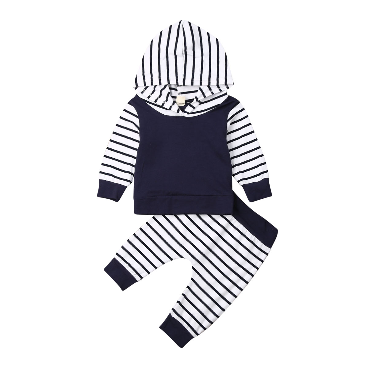 Newborn Infant Baby Boy Hooded Tops Sweatshirt Striped Pants Leggings Autumn Winter Outfit Clothes Sets