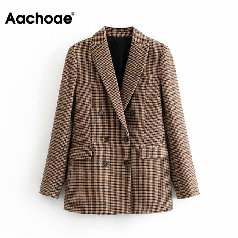 Plaid Blazer Coat Suits Jacket Long-Sleeve Female Vintage Office Ladies Casual Fashion title=