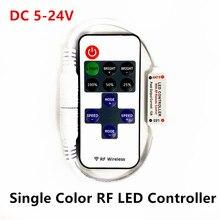 DC 5-24V Mini RF Wireless LED Remote Controller 12A Led Dimmer Driver For SMD 5050/3528/5730/3014 Single Color LED Strip Lights