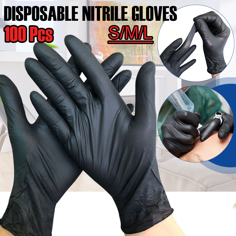 100 Pcs Black Disposable Nitrile Gloves For Dishwasher/Kitchen/ Work/Rubber/Food/Garden Gloves Universal Left And Right Hand
