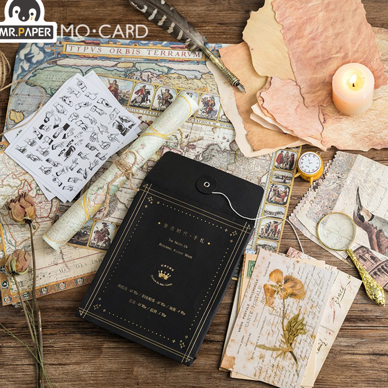 Mr.paper Personal Letter Postcard Suit Medieval  Stickers With Envelope Handmade Dry Craft Journal Travel Recording Envelopes