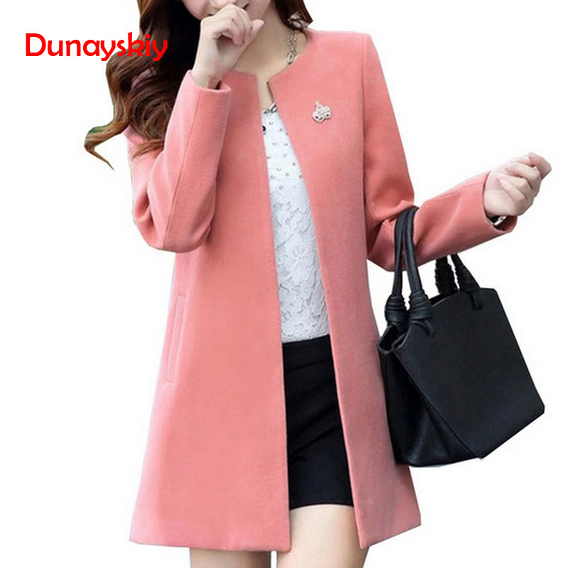 Fashion Round Neck Long Sleeve Women Coats S-XXL Solid Color Wool Blends Loose Cardigan 2020 Autumn Slim Thin Outerwear