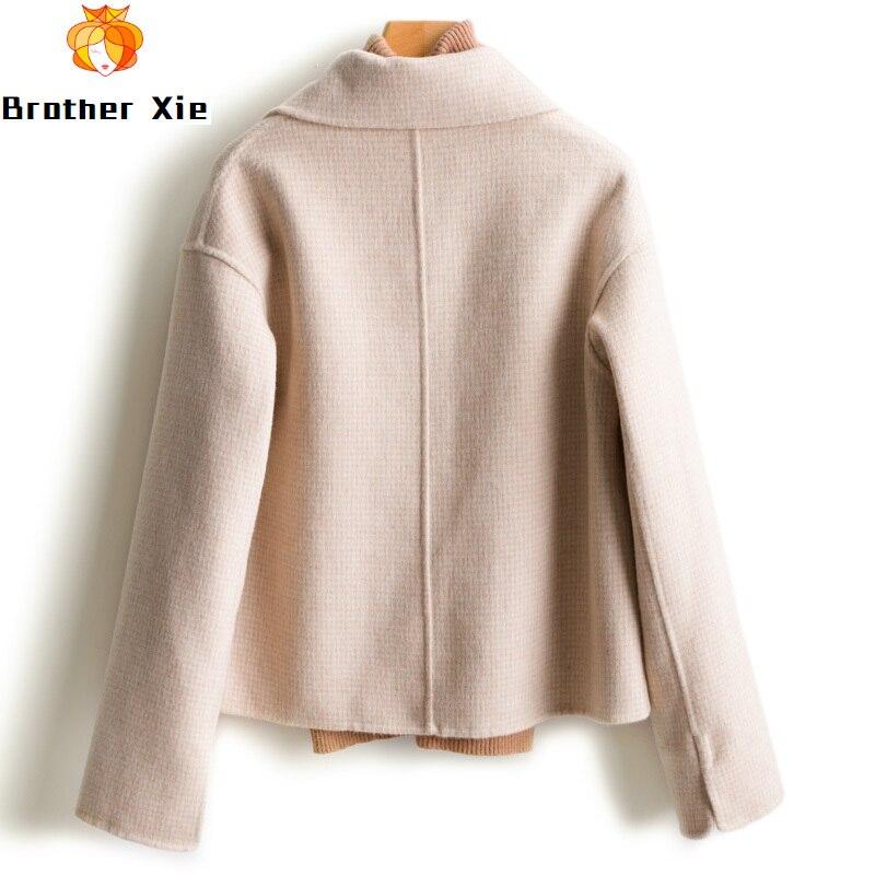Double faced cashmere coat women's short woolen coat high-end 100% wool coat korean short wool coat big pocket fashion new style