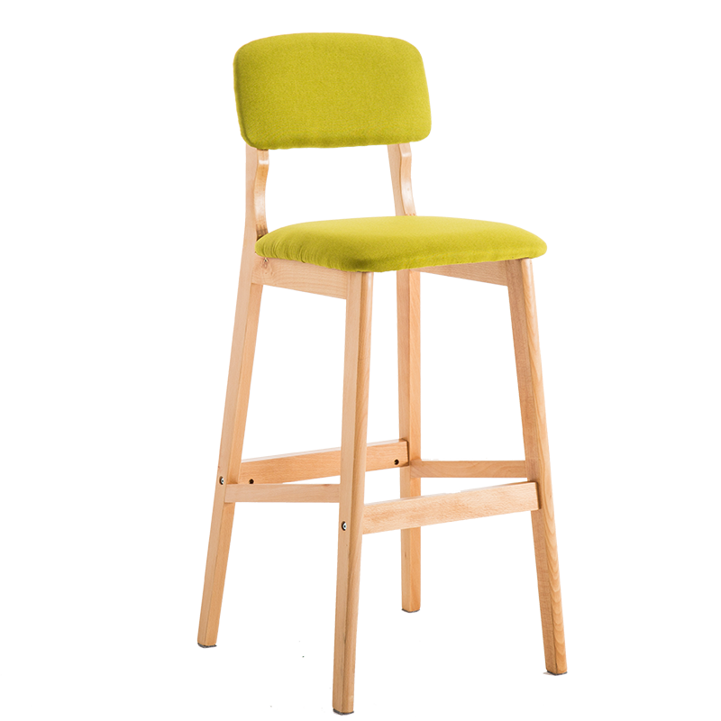 Nordic Solid Wood Bar Chair Back Bar Chair Modern Simple Bar Chair Bar Stool High Foot Stool Domestic High Foot Chair