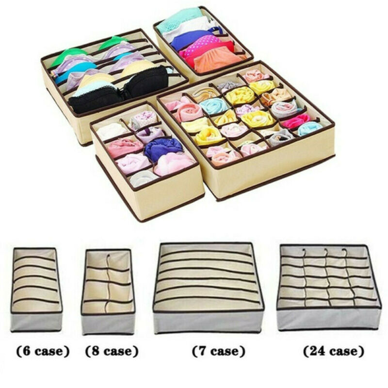 Foldable Underwear Sock Bra Tie Draw Divider Organiser Storage Container Box Clothes Drawer Organizers