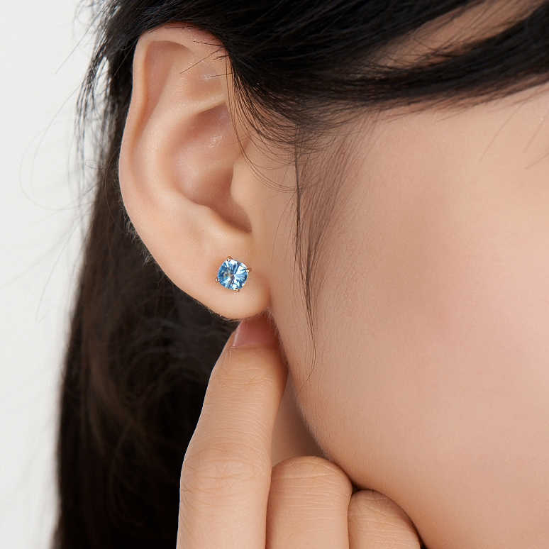 LSZB Natural topaz 18K Pure Gold Earring Real AU 750 Solid Gold Earrings  Diamond  Trendy  Fine Jewelry Hot Sell New 2019