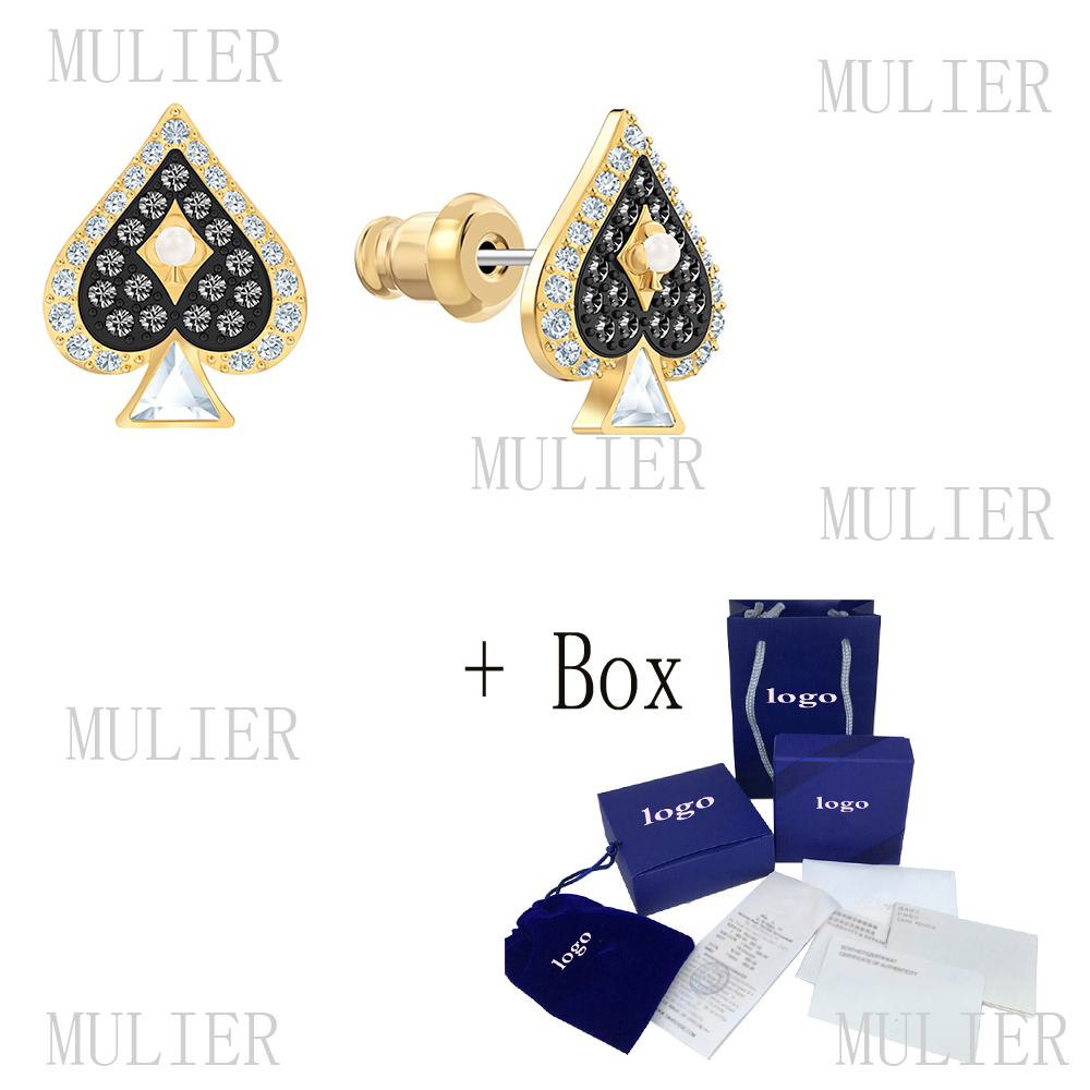 Original 2019 Fashion New SWA Elegant Stud Earrings Tarot Series Charming Spades Graphics Charm Personality Female Earrings
